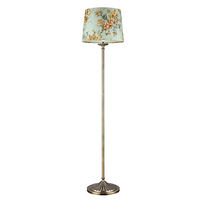 Image for Floral Linen Floor Lamp - Antique Brass from StoreName