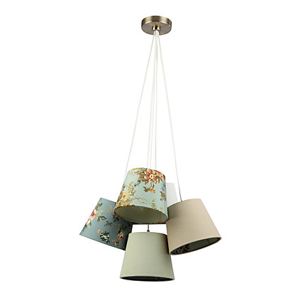 Image for Floral and Plain Linen Shade 5 Light Pendant - Multicoloured from StoreName