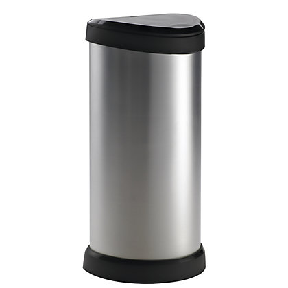 Image for Curver Deco Push Bin - 40L - Silver from StoreName
