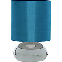 Saalbach Touch Table Lamp - Chrome effect/Teal Shade
