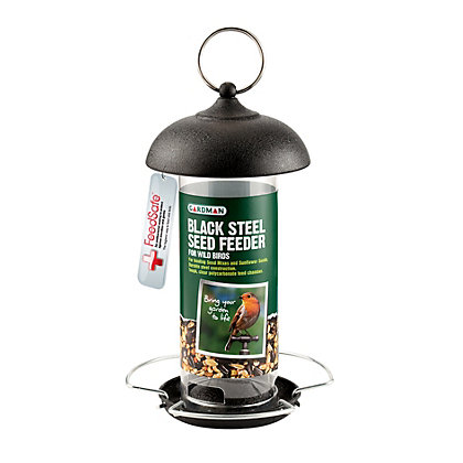 Image for Gardman Black Steel Bird Feeder for Seed - Small from StoreName