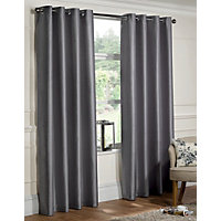 Home of Eyelet Faux Silk Eyelet Curtains - Silver 66 x 54in