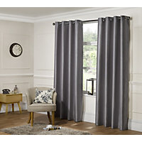 Home of Style Faux Silk Eyelet Curtains - Silver 66 x 90in
