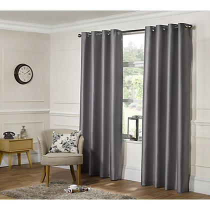 Image for Home of Style Faux Silk Eyelet Curtains - Silver 66 x 90in from StoreName
