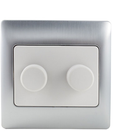 Image for Schneider Electric 250W/VA Double 2 Way Dimmer - Fusion Silver from StoreName