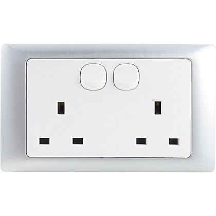Image for Schneider Electric 13A Double Switched Single-Pole Socket Outlet - Fusion Silver from StoreName