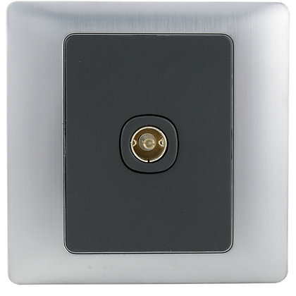 Image for Schneider Electric Single TV/FM Outlet - Mercury Silver from StoreName