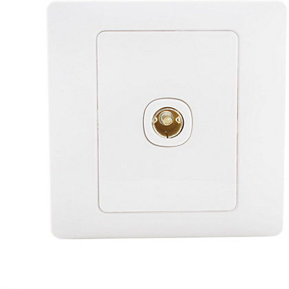 Image for Schneider Electric Single TV/FM Outlet - White Rubber from StoreName