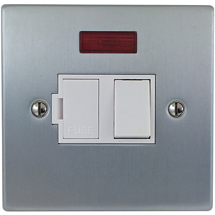 Image for Schneider Electric 13A Switched Fused Connection Unit With Neon - Matt Chrome from StoreName