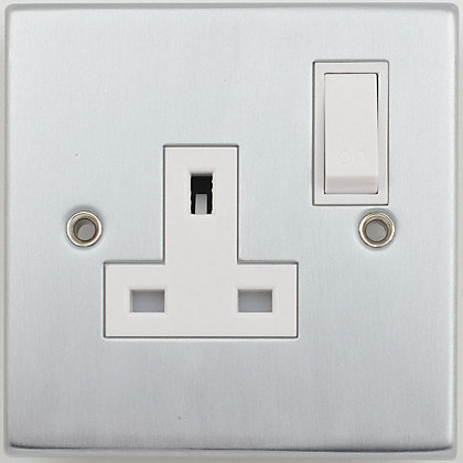 Image for Schneider Electric 13A Single Switched Single-Pole Socket Outlet - Matt Chrome from StoreName