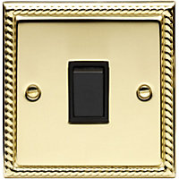 Schneider Electric 10AX Single 2 Way Switch - Georgian Brass