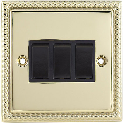 Image for Schneider Electric 10AX Triple 2 Way Switch - Georgian Brass from StoreName