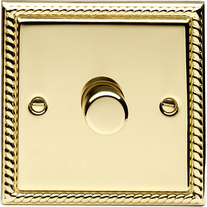 Image for Schneider Electric 400W/VA Single 2 Way Dimmer - Georgian Brass from StoreName