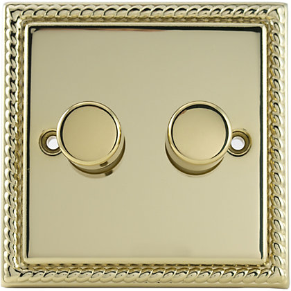 Image for Schneider Electric 250W/VA Double 2 Way Dimmer - Georgian Brass from StoreName