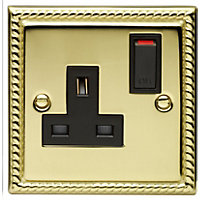 Schneider Electric 13A Single Switched Single-Pole Socket Outlet - Georgian Brass