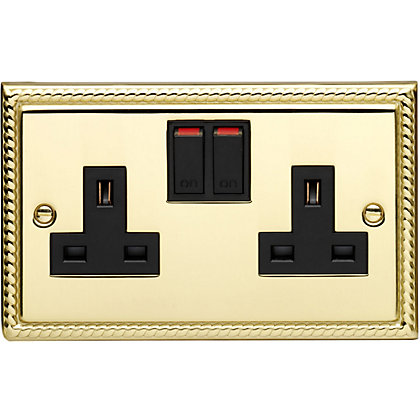 Image for Schneider Electric 13A Double Switched Single-Pole Socket Outlet - Georgian Brass from StoreName