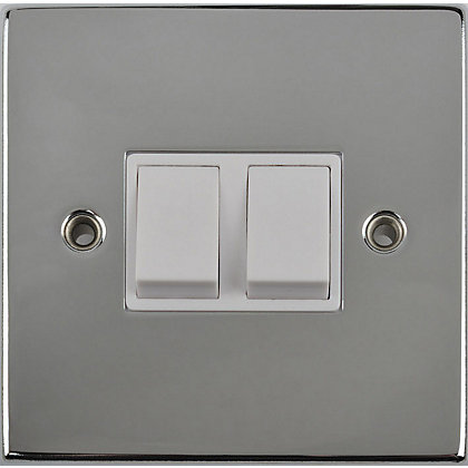 Image for Schneider Electric 10AX Double 2 Way Switch - Polished Chrome from StoreName