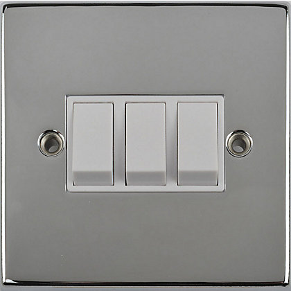 Image for Schneider Electric 10AX Triple 2 Way Switch - Polished Chrome from StoreName