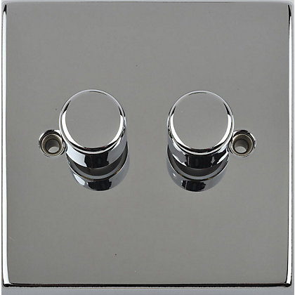 Image for Schneider Electric 250W/VA Double 2 Way Dimmer Switch - Chrome from StoreName