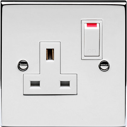 Image for Schneider Electric 13A Single Switched Single-Pole Socket Outlet - Polished Chrome from StoreName