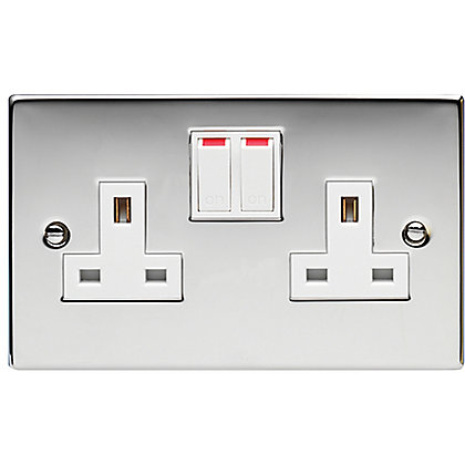 Image for Schneider Electric 13A Double Switched Single-Pole Socket Outlet - Polished Chrome from StoreName