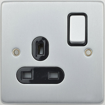 Image for Schneider Electric 13A Single Switched Single-Pole Socket Outlet - Brushed Chrome from StoreName