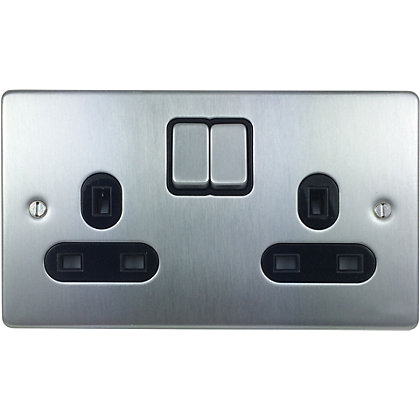 Image for Schneider Electric 13A Double Switched Single-Pole Socket Outlet - Brushed Chrome from StoreName