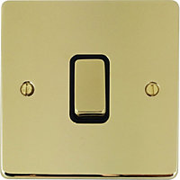 Schneider Electric 16AX Single 2 Way Switch - Polished Brass
