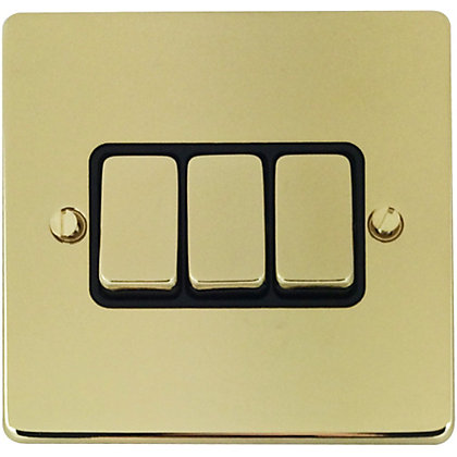 Image for Schneider Electric 16AX Triple 2 Way Switch - Polished Brass from StoreName