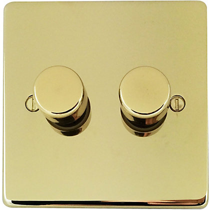 Image for Schneider Electric 250W/VA Double 2 Way Dimmer - Polished Brass from StoreName
