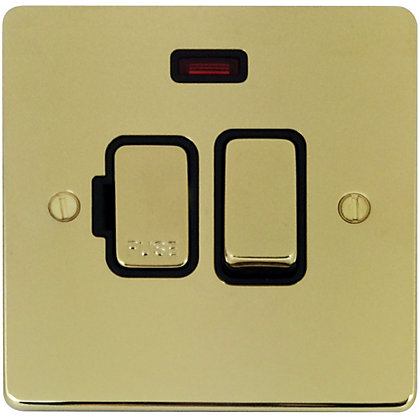 Image for Schneider Electric 13A Switched Fused Connection Unit With Neon - Polished Brass from StoreName