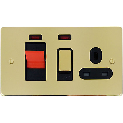Image for Schneider Electric 45A Double-Pole Cooker Unit With 13A Switched Socket & Neons - Polished Brass from StoreName