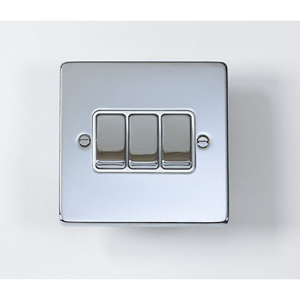 Image for Schneider Electric 16AX Triple 2 Way Switch - Polished Chrome from StoreName