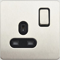 Schneider Electric 13A Single Switched Single-Pole Socket Outlet - Stainless Steel