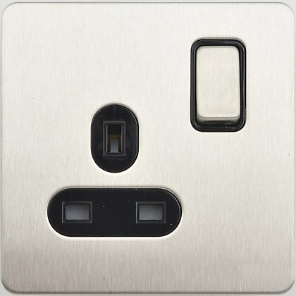 Image for Schneider Electric 13A Single Switched Single-Pole Socket Outlet - Stainless Steel from StoreName