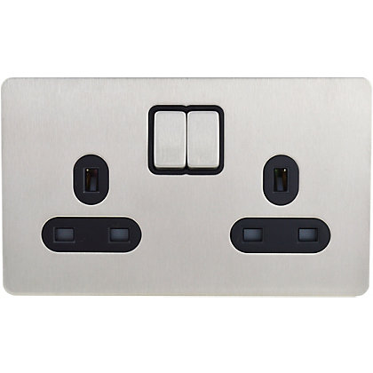 Image for Schneider Electric 13A Double Switched Single-Pole Socket Outlet - Stainless Steel from StoreName
