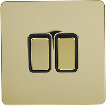 Image for Schneider Electric 16AX Double 2 Way Switch - Polished Brass from StoreName