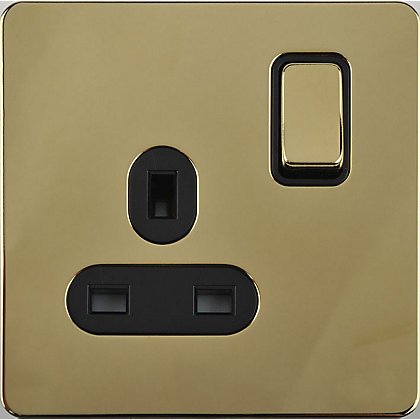 Image for Schneider Electric 13A Single Switched Single-Pole Socket Outlet - Polished Brass from StoreName
