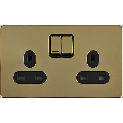 Image for Schneider Electric 13A Double Switched Single-Pole Socket Outlet - Polished Brass from StoreName