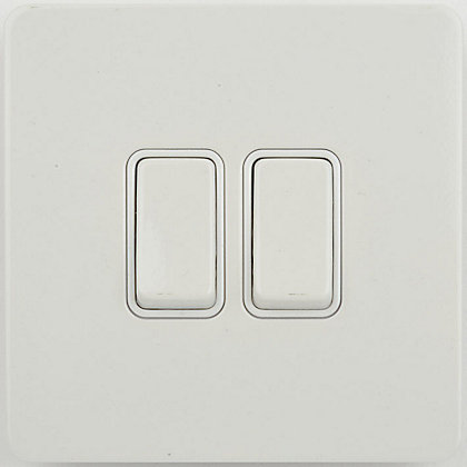 Image for Schneider Electric 16AX Double 2 Way Switch - Painted White from StoreName