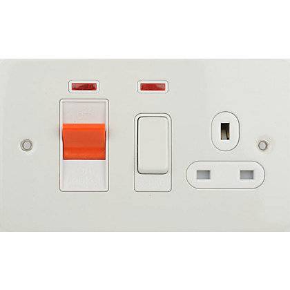 Image for Schneider Electric 45A Double-Pole Cooker Unit With 13A Switched Socket & Neons - Painted White from StoreName