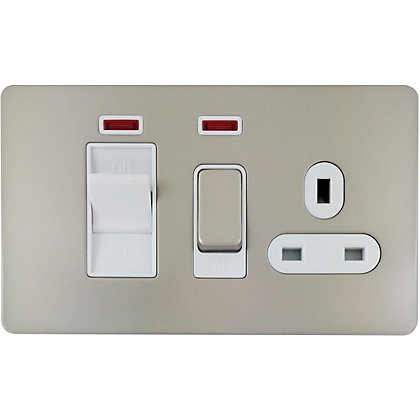 Image for Schneider Electric 45A Double-Pole Cooker Unit With 13A Switched Socket & Neons - Pearl Nickel from StoreName