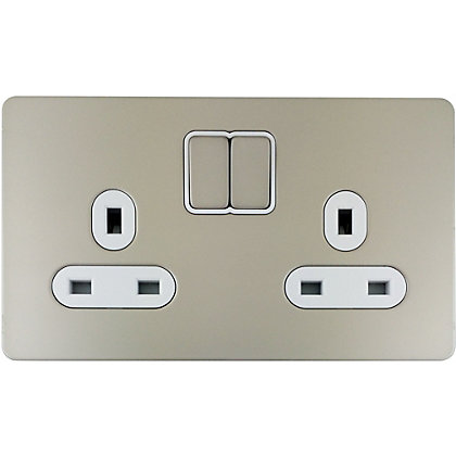 Image for Schneider Electric 13A Double Switched Single-Pole Socket Outlet - Pearl Nickel from StoreName