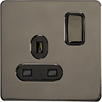 Schneider Electric 13A Single Switched Single-Pole Socket Outlet - Black Nickel