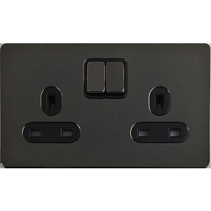 Image for Schneider Electric 13A Double Switched Single-Pole Socket Outlet - Black Nickel from StoreName