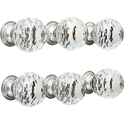 Image for Faceted Glass Knob Chrome Base 30mm - Pack of 6 from StoreName