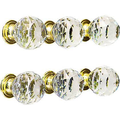Image for Faceted Glass Knob Brass Base 30mm - Pack of 6 from StoreName