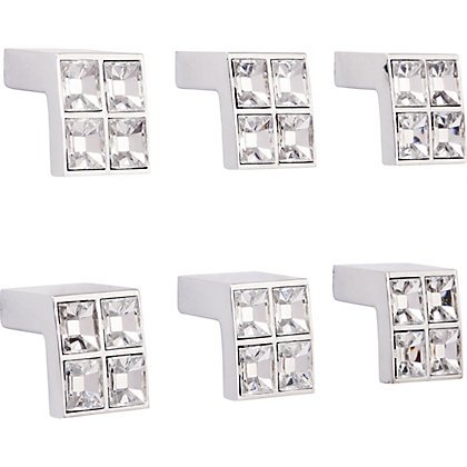Image for Acrylic Diamond Square Knob 25mm - Pack of 6 from StoreName