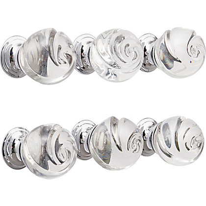 Image for Rose Glass Knob Chrome base 30mm - Pack of 6 from StoreName