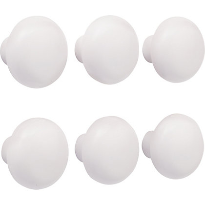 Image for Plastic Mushroom Knob White 40mm - Pack of 6 from StoreName
